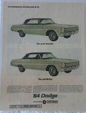 Vintage 1964 Dodge Chrysler Polara 500 Convertible Magazine Advertisement Sealed