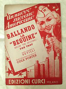 SPARTITO MUSICALE BALLANDO LA BEGUINE BEGIN THE BEGUINE FOX TROT COLE PORTER