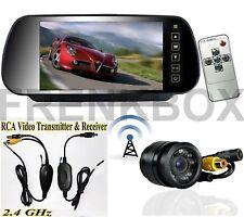 """Kit retromarcia monitor 7"""" specchietto retrovisore telecamera incasso wireless"""