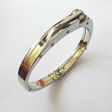 MEN'S BRACELET HANDCUFF STAINLESS STEEL POLISHED AND GOLD   - 8.07 IN - 98
