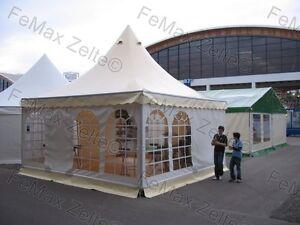 Festzelt Partyzelt 4x4m Pagodenzelt VIP Lounge / vanillegelb-weiß