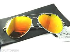 New Aviator Gold to yellow mirror lenses /UV/ 400 free soft case black
