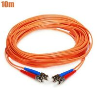 10M ST/ST Fiber Optic 62.5/125 Duplex Multi Mode Optical Patch Cable Cord Orange