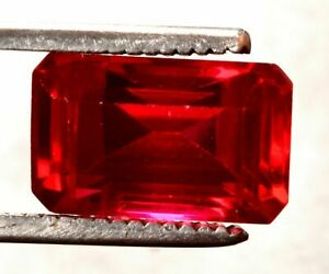 14.10  Cts  Lovely  Natural Mozambique Red Ruby  Emerald Cut Certified Gemstone