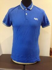 Superdry Men's  Polo Shirt  Blue Adult Medium Twin Tipped  (W1017)
