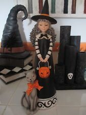 "NEW Large 16"" Young Girl Witch & Gray Cat, Decoration, Statue, Halloween!"