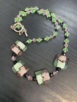 "Vintage Pink Aurora borealis green Art Glass Beaded  Bohemian Boho Necklace 20"""