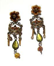 Flower Stud Earrings Women Girls Jewellery Brown Enamel Crystal Bead Drop Dangle