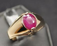 2.48 CT MINED NO GLASS FILL RED RUBY 10K YELLOW GOLD MENS RING IDEAL COLOR SZ 11