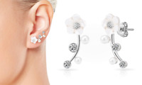 Silver Daisy Pearl + Crystal Climber Earrings with Crystals from Swarovski®