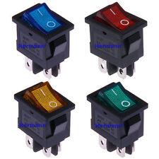 Wippschalter 12V-230V Ein/Aus 21x15mm Rot Blau Grün Gelb Beleuchtet Kippschalter