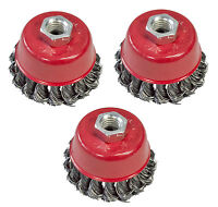 """3pc 75mm Twist Knot Wire Cup Brush Set For 115mm Angle Grinder 3"""" Rust Remover"""
