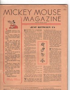 "Original 1930's  Walt Disney ""Mickey Mouse Magazine with Comics""  coverless (k"