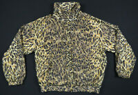 NWOT Vintage 80s 90s Leopard Animal Print Full Zip Windbreaker Bomber Jacket S