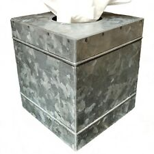 Farmhouse Galvanized Metal Square Rustic Tissue Box Cover