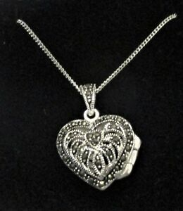 """STERLING SILVER HEART SHAPED MARCASITE SET OPENING LOCKET +18"""" SILVER CURB CHAIN"""