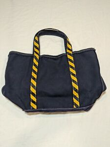 """VTG LL BEAN """"Boat And Tote"""" Canvas Bag XL Navy Bluewith Yellow Stripes RARE!!"""