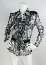 Cacharel 34 2 Silk Chiffon Gray/Black Floral Print Ruffle Front Long Sleeve EUC