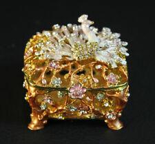 Enameled Vine Encased Trinket Box with Semi Precious Stone Embellished Peacock