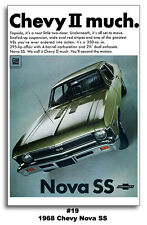 1968 CHEVY NOVA II SS POSTER PRINT 24x36 AD 1969 CHEVELLE CAMARO MANCAVE ART