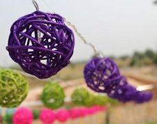 Purple Rattan Cane Balls Fairy Light String 3 Meters Long 220V UK Or 110V USA