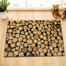"Wood Logs Flannel Bedroom Door Mats 15X23"" Bathroom Floor Non-Slip Mat Rug Soft"