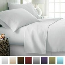 Attached Waterbed Sheet Set 1000 TC Comfort Egyptian Cotton White Solid