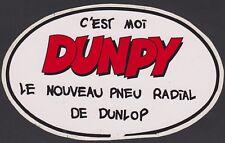 """PUBLICITE AUTO-COLLANT STICKER VINTAGE AUTOMOBILE/PNEU RADIAL/DUNLOP. """"DUNPY"""""""