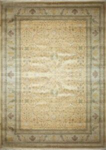 Traditional Hand Knotted Area Rug Gold/Bone 100% Wool Rugs Size(10 x 14)