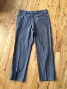 Hermes Mens Pants, 100% Cotton, Size 34 X 30, Gray Plaid, Made In Italy