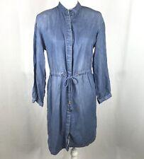 A New Day Women's Chambray Medium Wash Long Sleeve Drawstring Shirtdress Size S