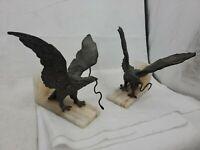 2 Vintage Large Black Cast Iron Metal Marble Base Eagle Snake Bookends Door Stop