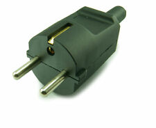 16A Rewireable 2 Pin Schuko European Plug- for Germany,France,Spain - BLACK