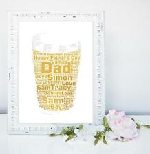 PERSONALISED PINT GLASS WORDART  BIRTHDAY FATHERS DAY DAD SON GRANDAD