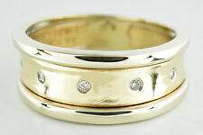 Women's 9.0 mm Wide Diamond Cigar Band in 14k SOLID Yellow Gold