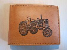 Mankind Wallets-Men's Tan Leather RFID Billfold-FREE IH Farmall Tractor Image