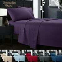 Bed sheets set 1800 Count 4 Piece Deep Pocket Bed Sheet Set King Queen Size R9