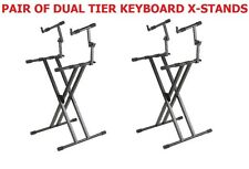Pair (2) Of CedarsLink DJ Coffin / Keyboard / Laptop Folding X-Stand Dual Tier