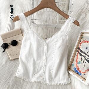 Women Vest Tank White Cotton Blend Lace Trim Sleeveless Crop Tops T-shirt V-Neck