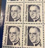Stamps USA 🇺🇸 Plate Block Scott #2171 4c Father Flanagan MNH