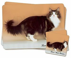 Norwegian Forest Cat 'Love You Mum' Twin 2x Placemats+2x Coasters Se, AC-40lymPC