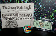 rare 2001 DCA OPENING DISNEY DOLLAR, 2016 BUTTON & NEWSPAPER mickey dollars $5