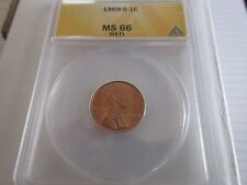 1969-S , Lincoln Cent , MS 66 , Red , Anacs