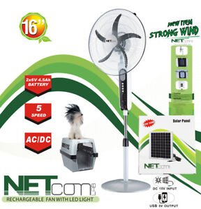 """Oscillating Fan, Rechargeable, 5 Speed, LED. 16"""" AC/DC  with solar panel (2021)"""