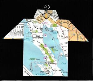 Origami Map Shirt Mexico, Baja California, Puerto Penasco, Bahia de Tortugas