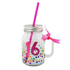16th compleanno in Vetro Decorato Mason Jar & Paglia Idea Regalo Ragazze Bithday