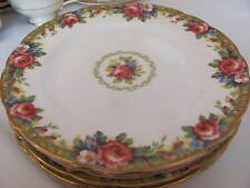 """4 PARAGON BONE CHINA 8""""LUNCHEON PLATES  ENGLAND  TAPESTRY ROSE PATTERN  DBLE WAR"""