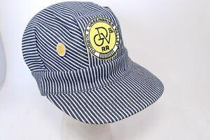 Vintage Durbin Greenbrier Valley Blue Stripe Engineer Cap Train Conductor Hat