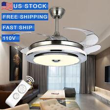"Best Sale!42"" Stainless Steel Retractable Ceiling Fan Light Led Pendant Lamp Usa"