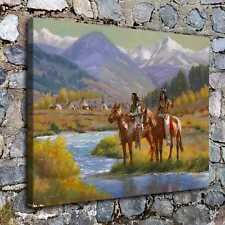A7468-Indians Blackfoot Near Camp Home Decor  HD Canvas Print Wall Art Picture